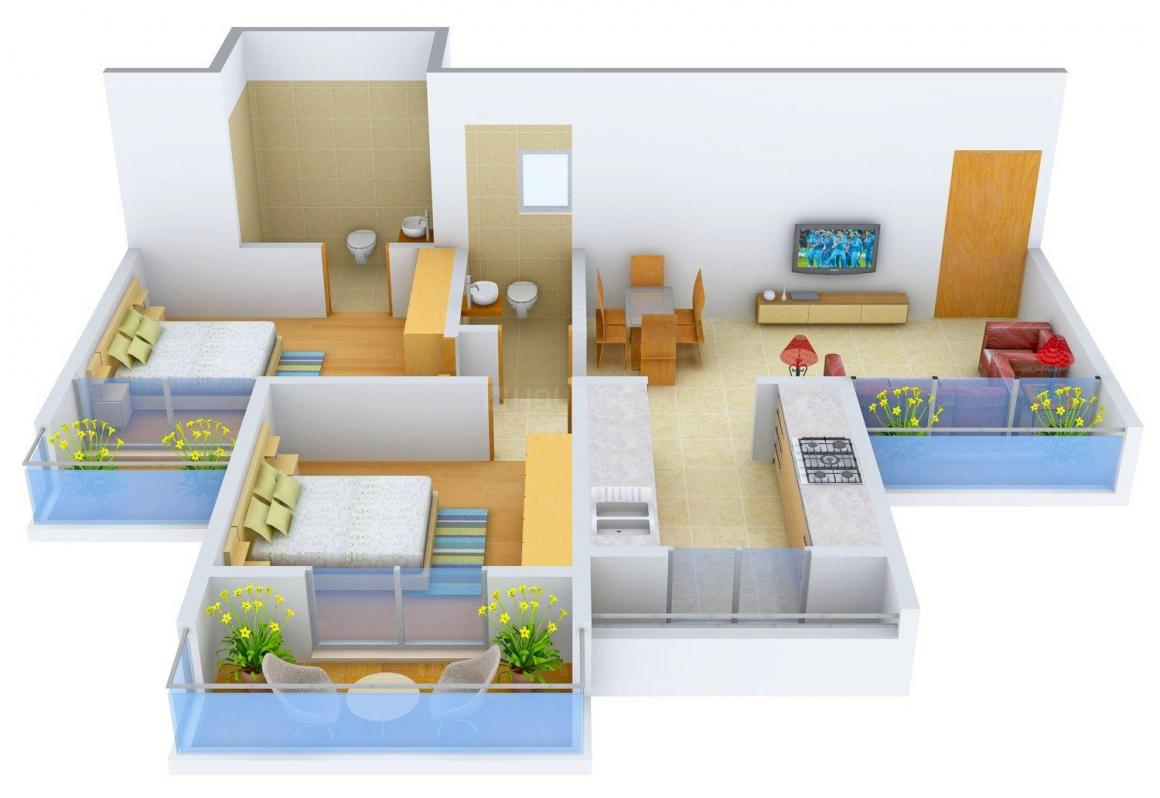 Floor Plan Image of 0 - 1070.0 Sq.ft 2 BHK Apartment for buy in Archana Sun City