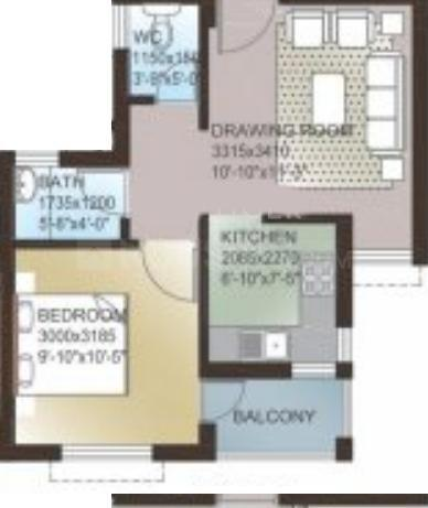 Ansal API Aastha Uday Floor Plan: 1 BHK Unit with Built up area of 563 sq.ft 1