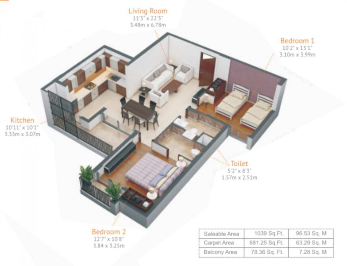 Kiara Residency Floor Plan: 2 BHK Unit with Built up area of 681 sq.ft 1