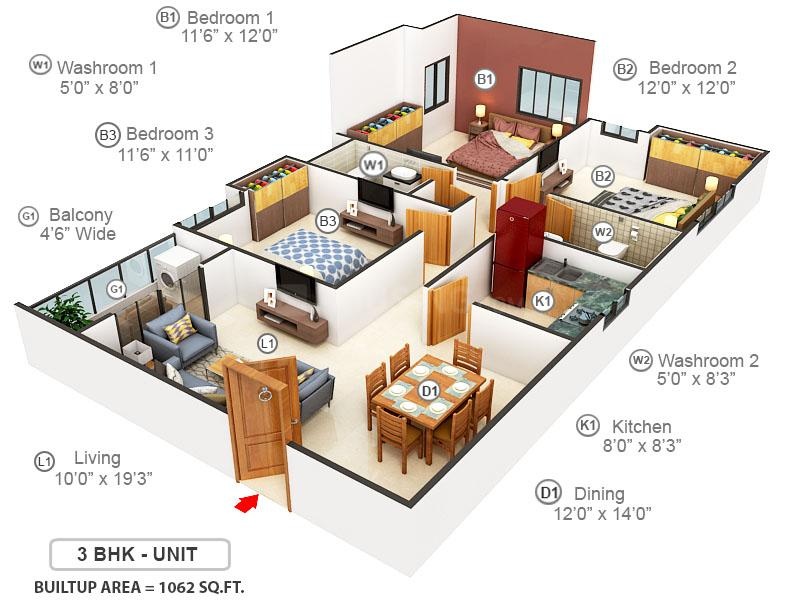 Merlin 5th Avenue Floor Plan: 3 BHK Unit with Built up area of 1062 sq.ft 1