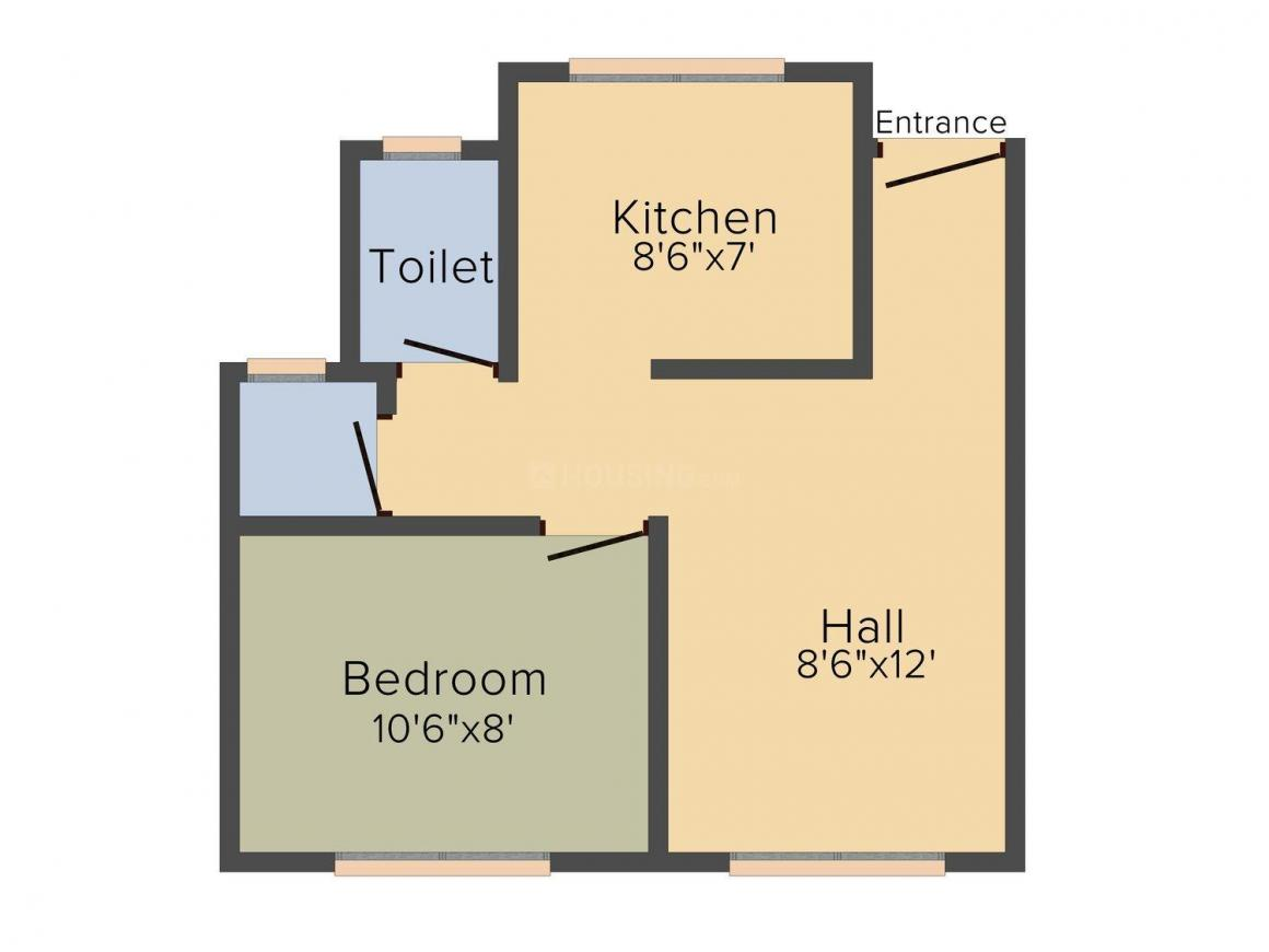 Floor Plan Image of 385.0 - 555.0 Sq.ft 1 RK Studio Apartment for buy in Vedant Krishna Pride