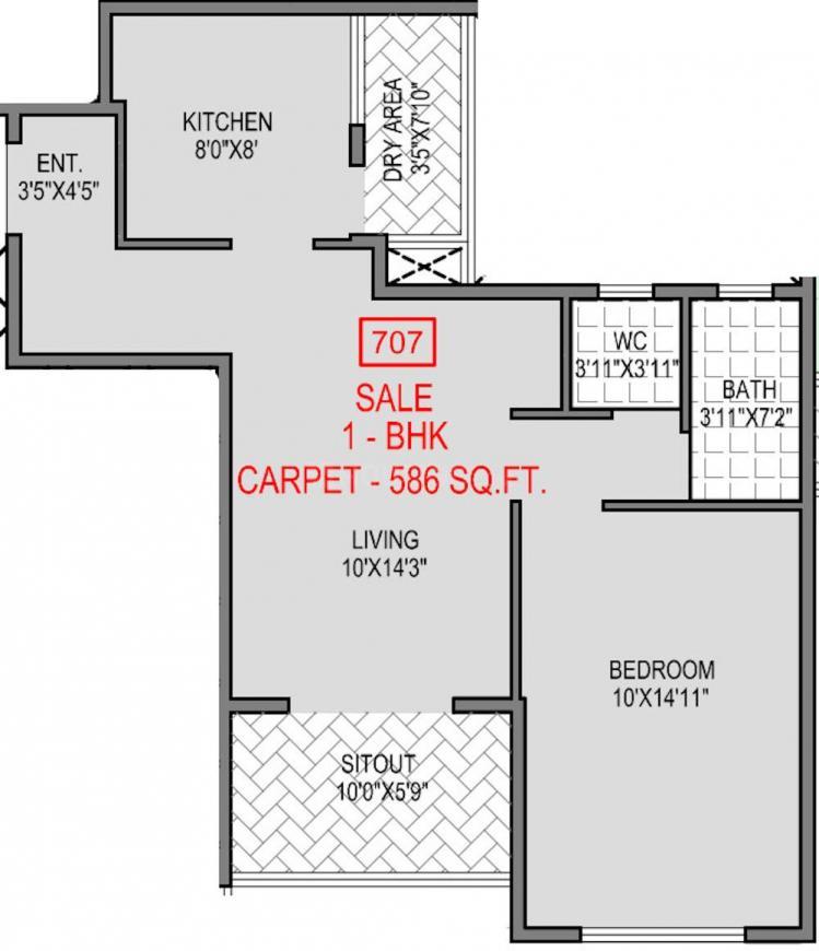Badhekar Keshar Floor Plan: 1 BHK Unit with Built up area of 586 sq.ft 1