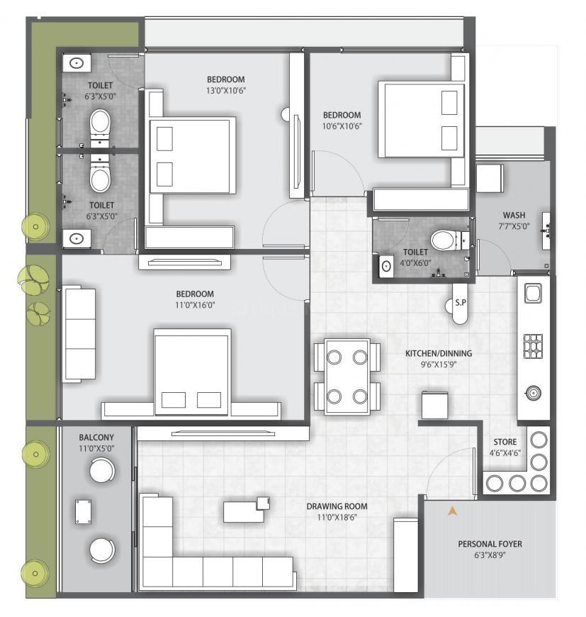 Shree Ramdev Devasya Gold Plus Floor Plan: 3 BHK Unit with Built up area of 946 sq.ft 1