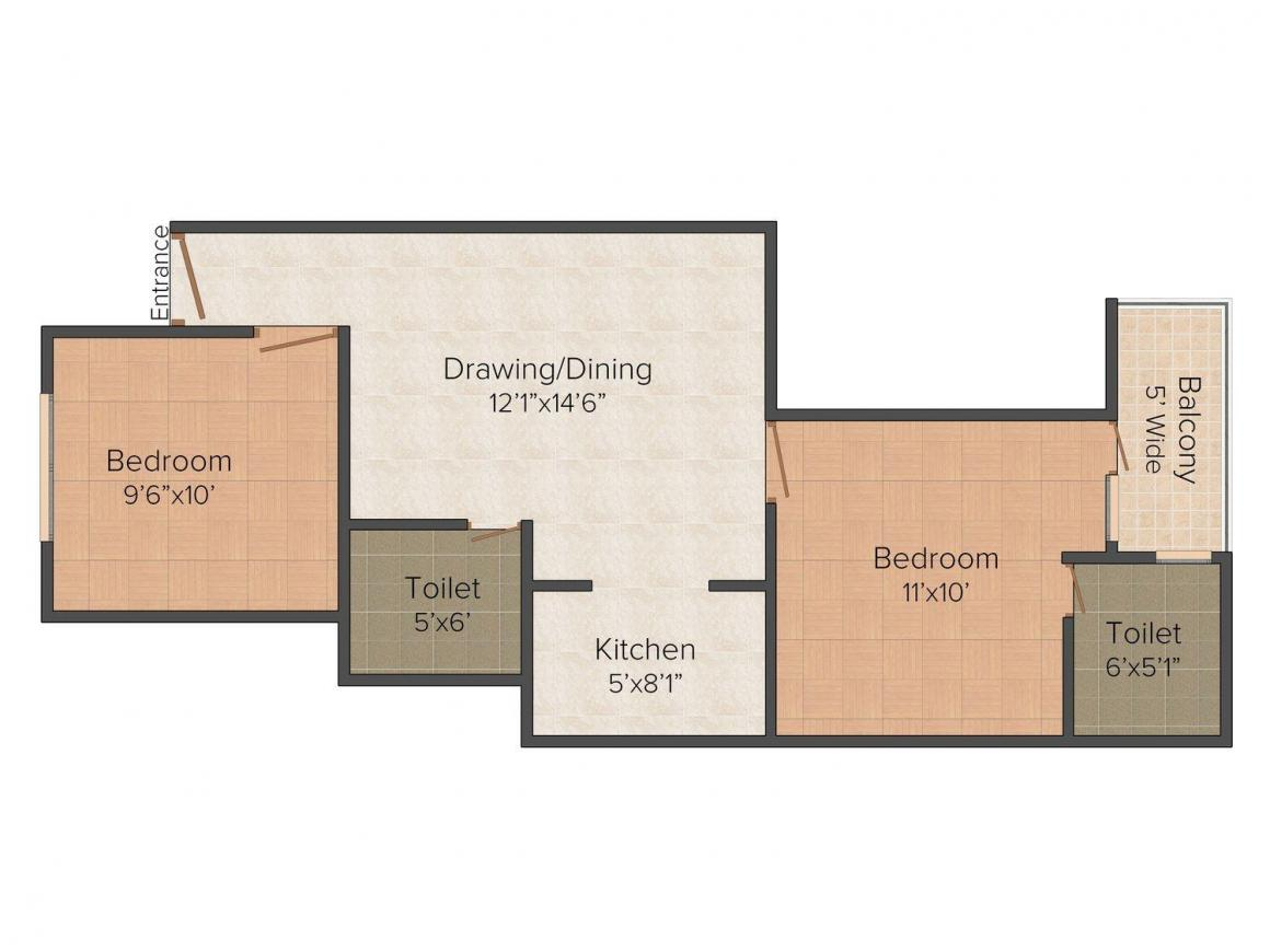 Om Developers Site-105 Floor Plan: 2 BHK Unit with Built up area of 725 sq.ft 1
