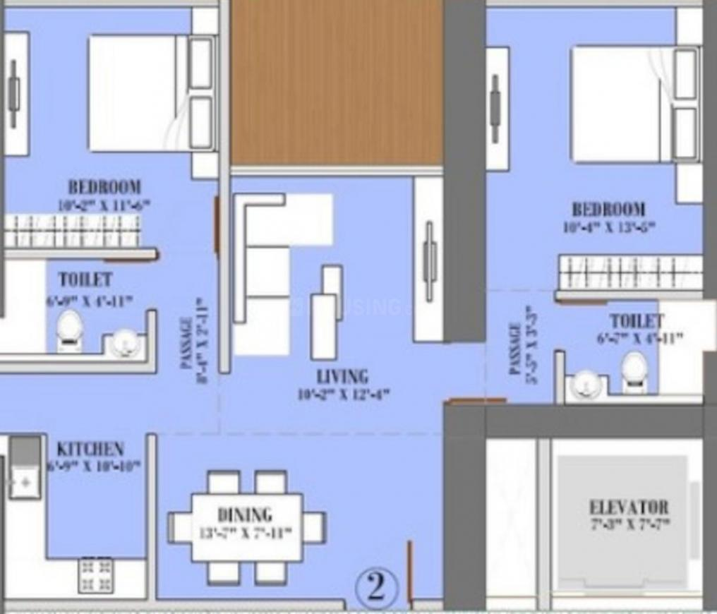 Ruparel Jewel Floor Plan: 2 BHK Unit with Built up area of 535 sq.ft 1