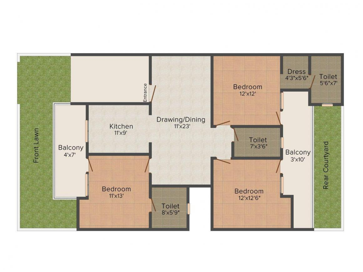 Beekay Floors, B-670/49 Floor Plan: 3 BHK Unit with Built up area of 2200 sq.ft 1