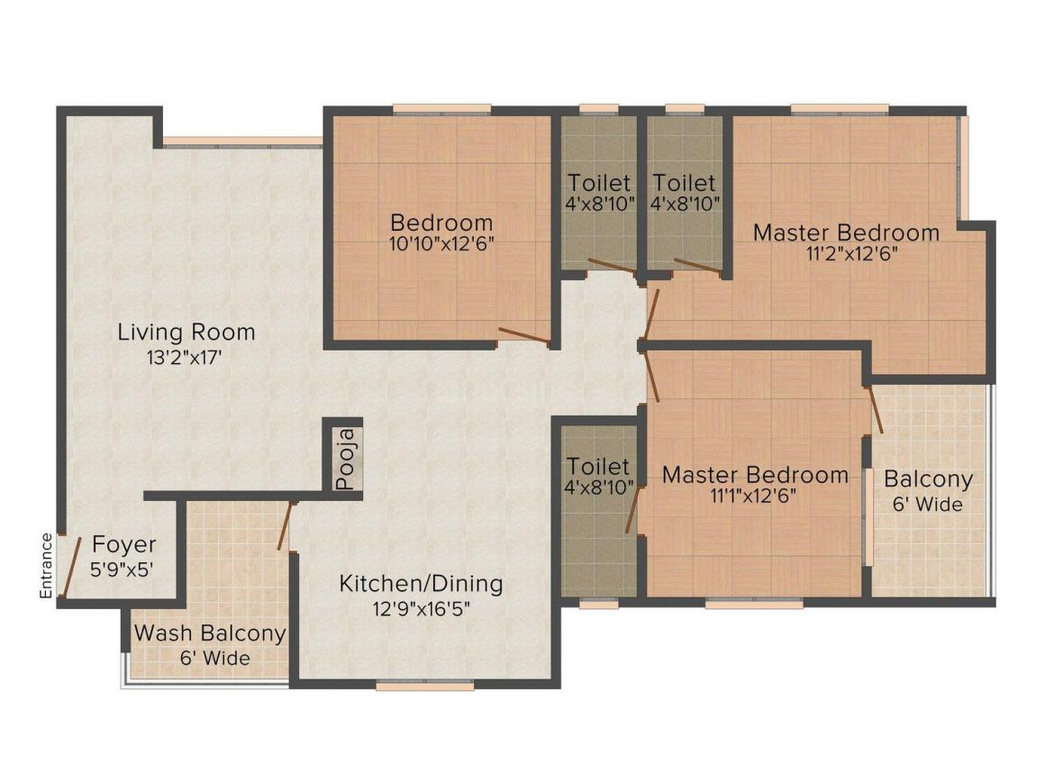 Floor Plan Image of 0 - 1100 Sq.ft 3 BHK Apartment for buy in Royal Sukun Residency