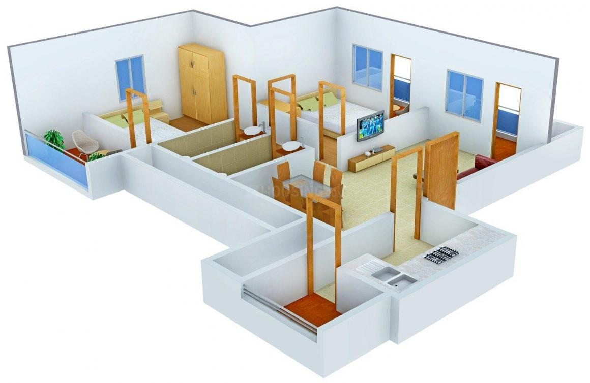 Floor Plan Image of 840.0 - 1114.0 Sq.ft 2 BHK Apartment for buy in Mohidin The Grand Avenue