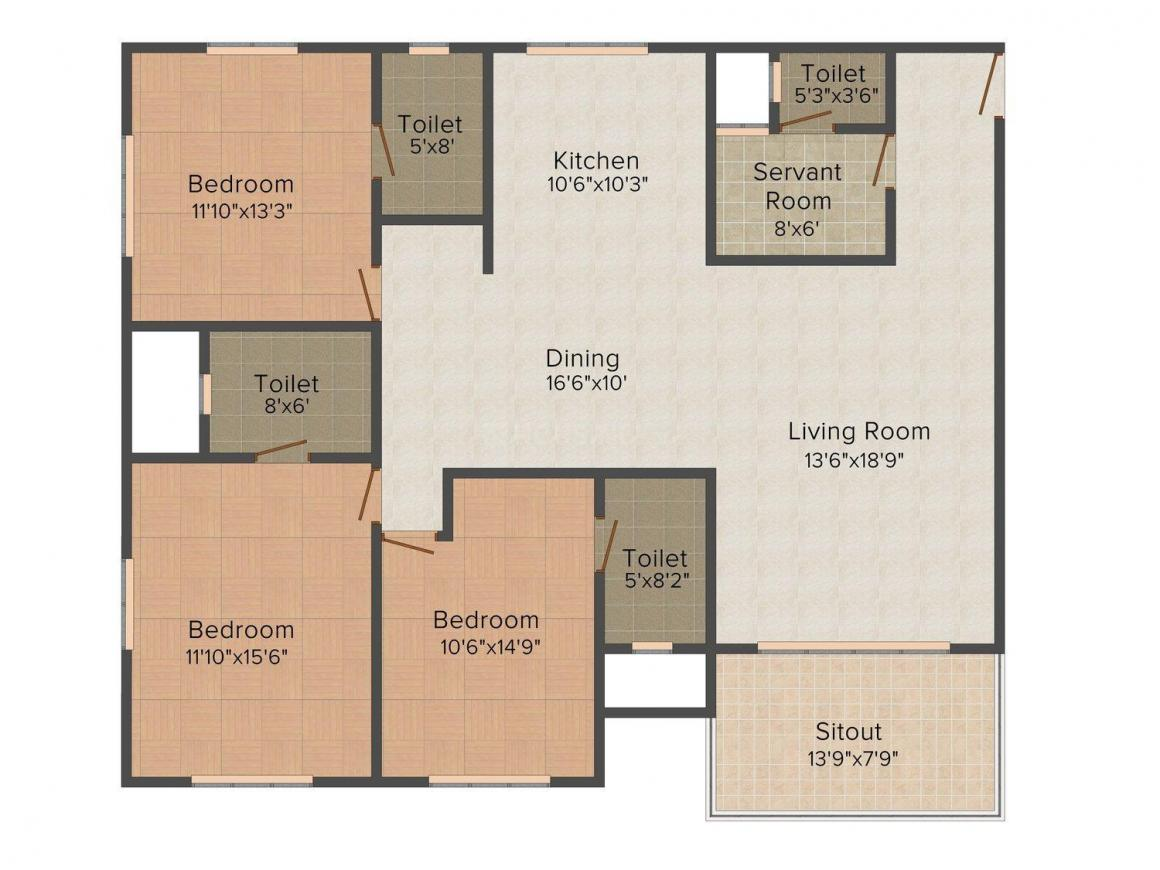 Aswani Rosary Floor Plan: 3 BHK Unit with Built up area of 2650 sq.ft 1