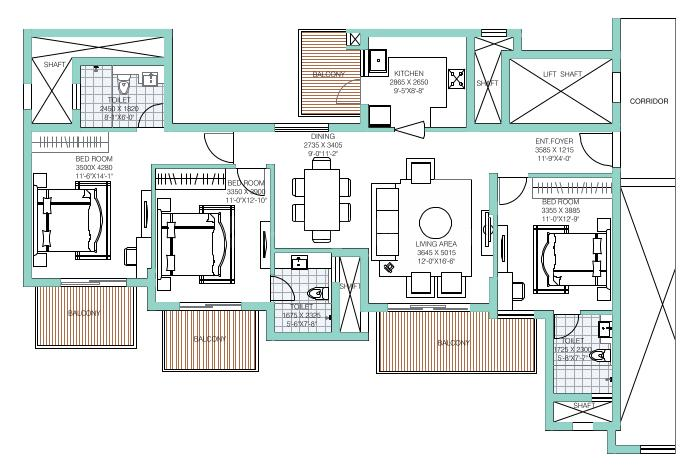 ATS Tourmaline Floor Plan: 3 BHK Unit with Built up area of 1750 sq.ft 1