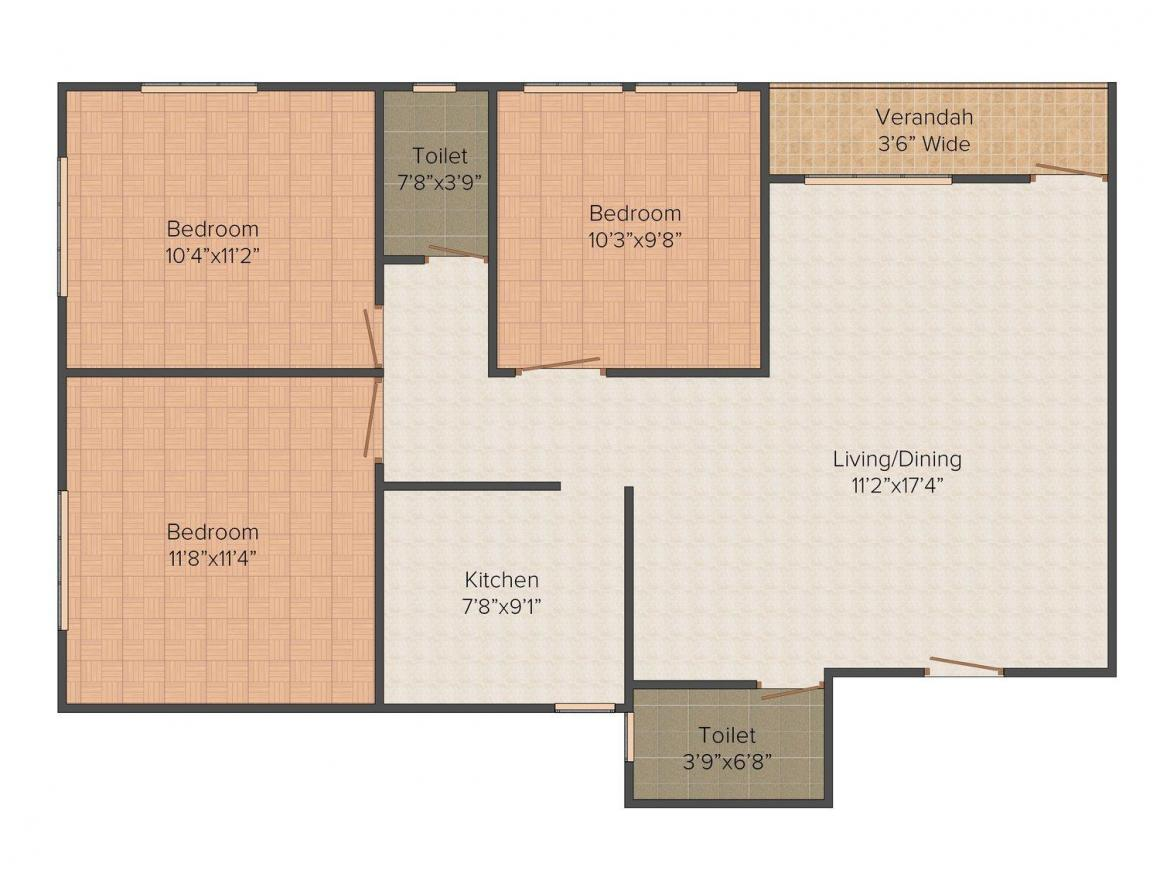 Floor Plan Image of 1294.0 - 1366.0 Sq.ft 3 BHK Apartment for buy in Hindustan Enclave