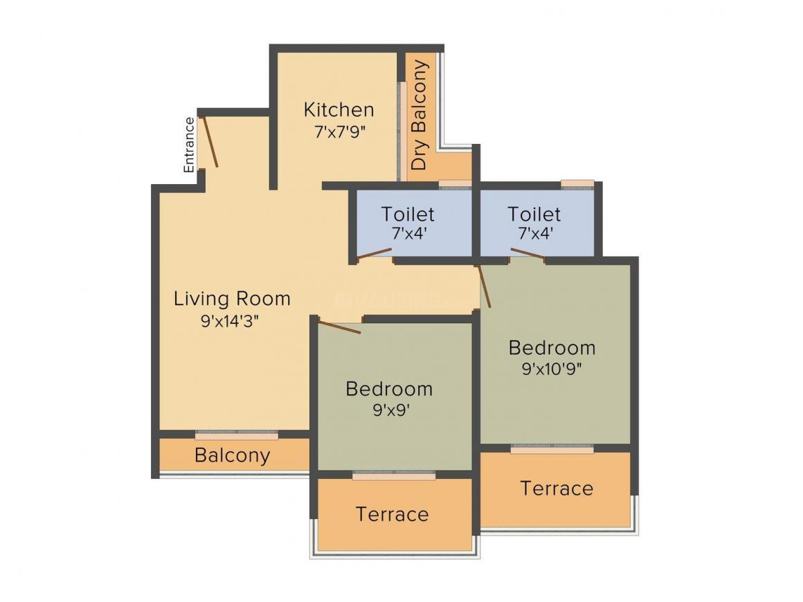 Floor Plan Image of 646.0 - 920.0 Sq.ft 1 BHK Apartment for buy in Aaron Moreshwar Complex