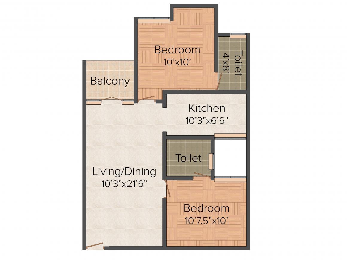 Floor Plan Image of 517 - 1091 Sq.ft 1 BHK Apartment for buy in Adinath Shantiniketan