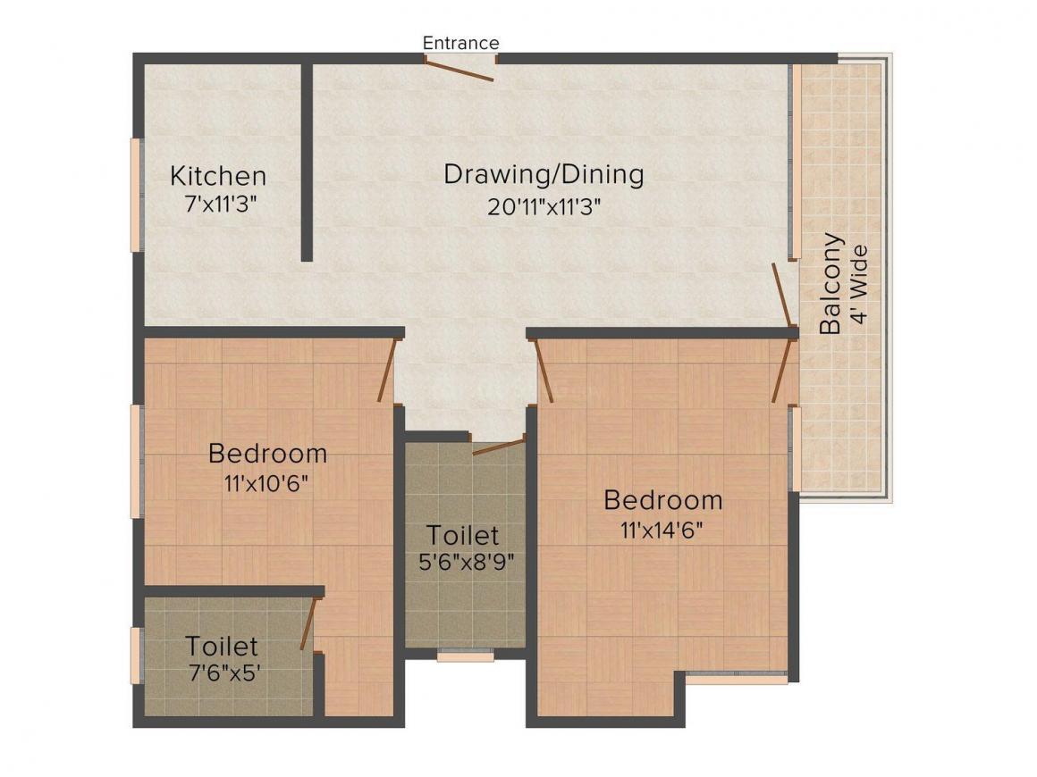 Floor Plan Image of 1060 - 1525 Sq.ft 2 BHK Apartment for buy in Aditya Imperial