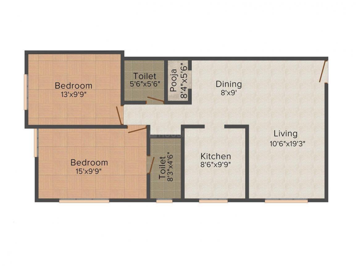 Sandhya Sai Krishna Floor Plan: 2 BHK Unit with Built up area of 1200 sq.ft 1