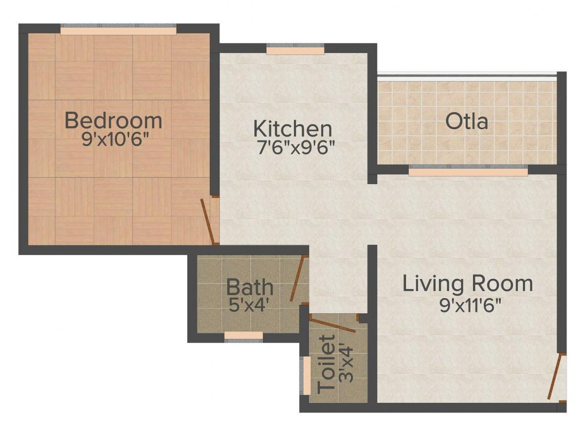 Floor Plan Image of 491 - 531 Sq.ft 1 BHK Apartment for buy in Space India Tulsi Sanidhya