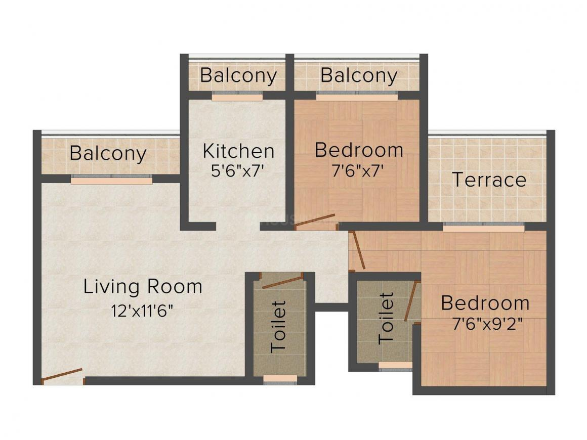 Tharwani Riverdale Vista Floor Plan: 2 BHK Unit with Built up area of 950 sq.ft 1