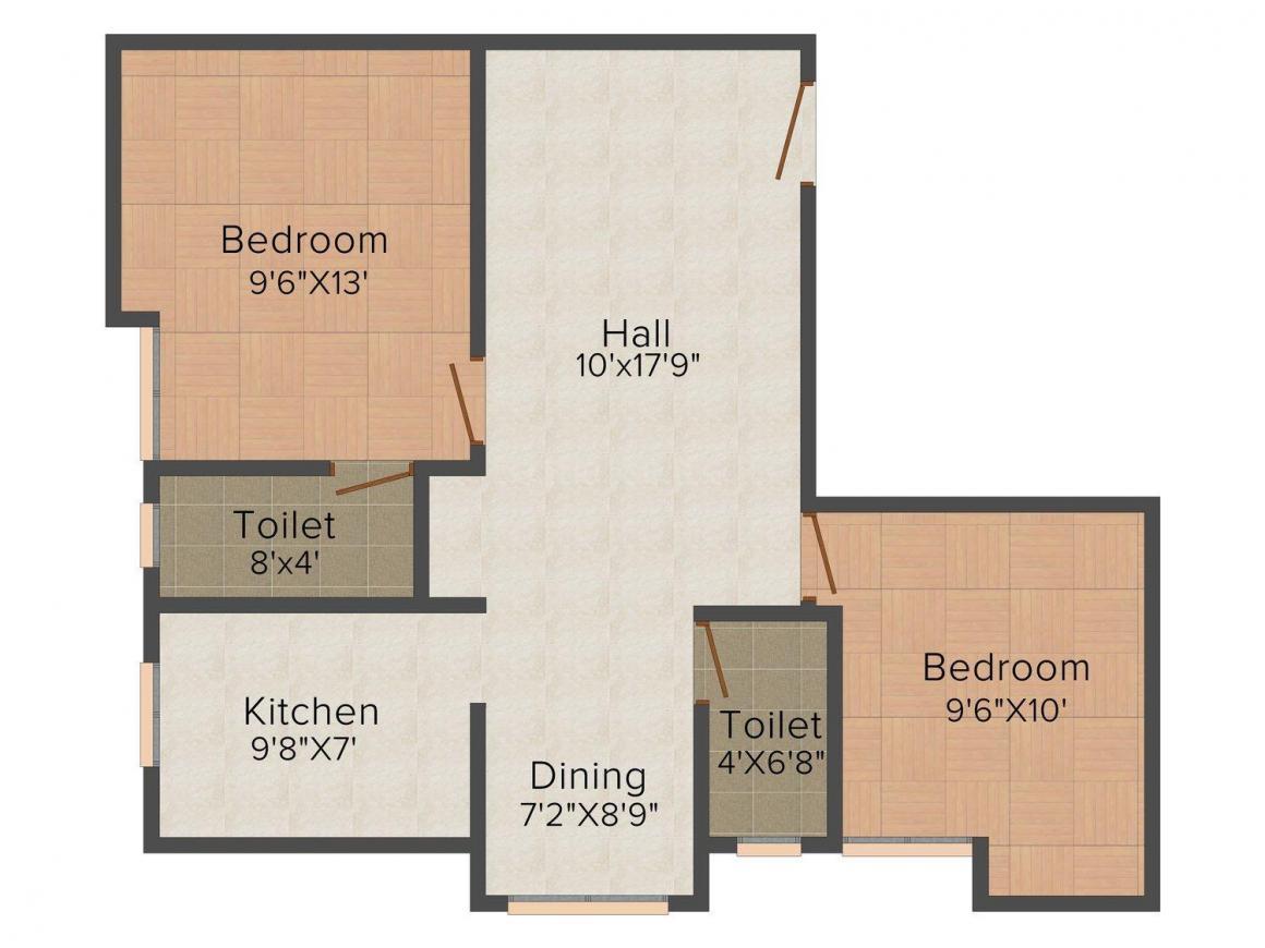 Floor Plan Image of 820.0 - 1000.0 Sq.ft 2 BHK Apartment for buy in Guna Kuberan Flats