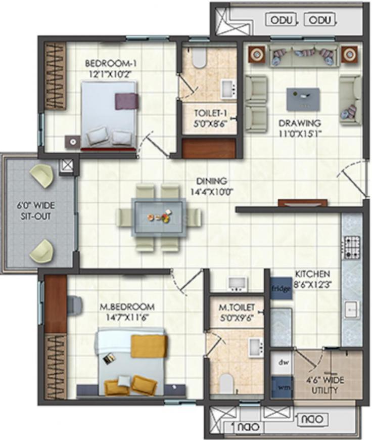 Rajapushpa Provincia Floor Plan: 2 BHK Unit with Built up area of 882 sq.ft 1