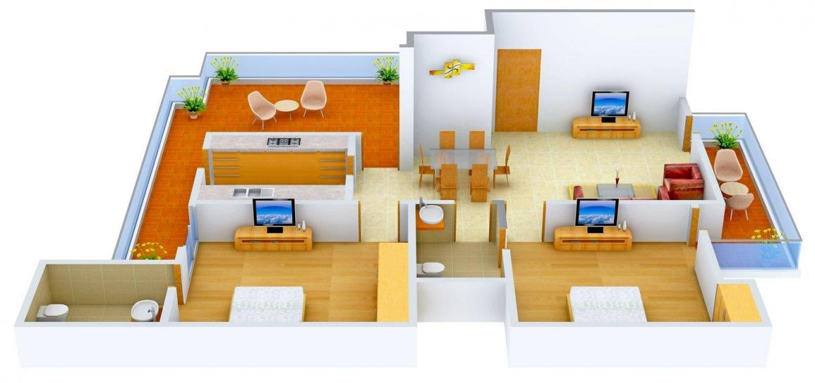 Ansal Ansal Town Karnal Floor Plan: 2 BHK Unit with Built up area of 1250 sq.ft 1