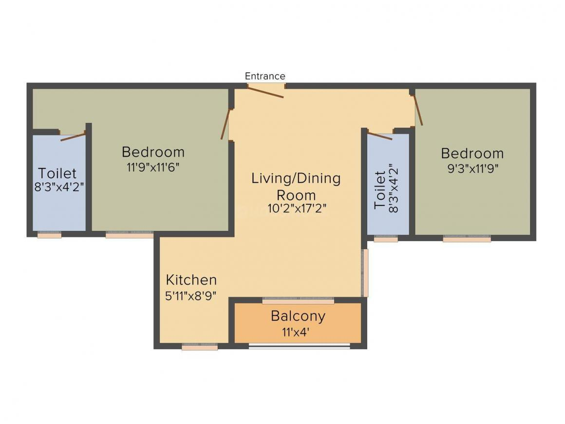 Ganguly 4 Sight Abode Floor Plan: 2 BHK Unit with Built up area of 1088 sq.ft 1