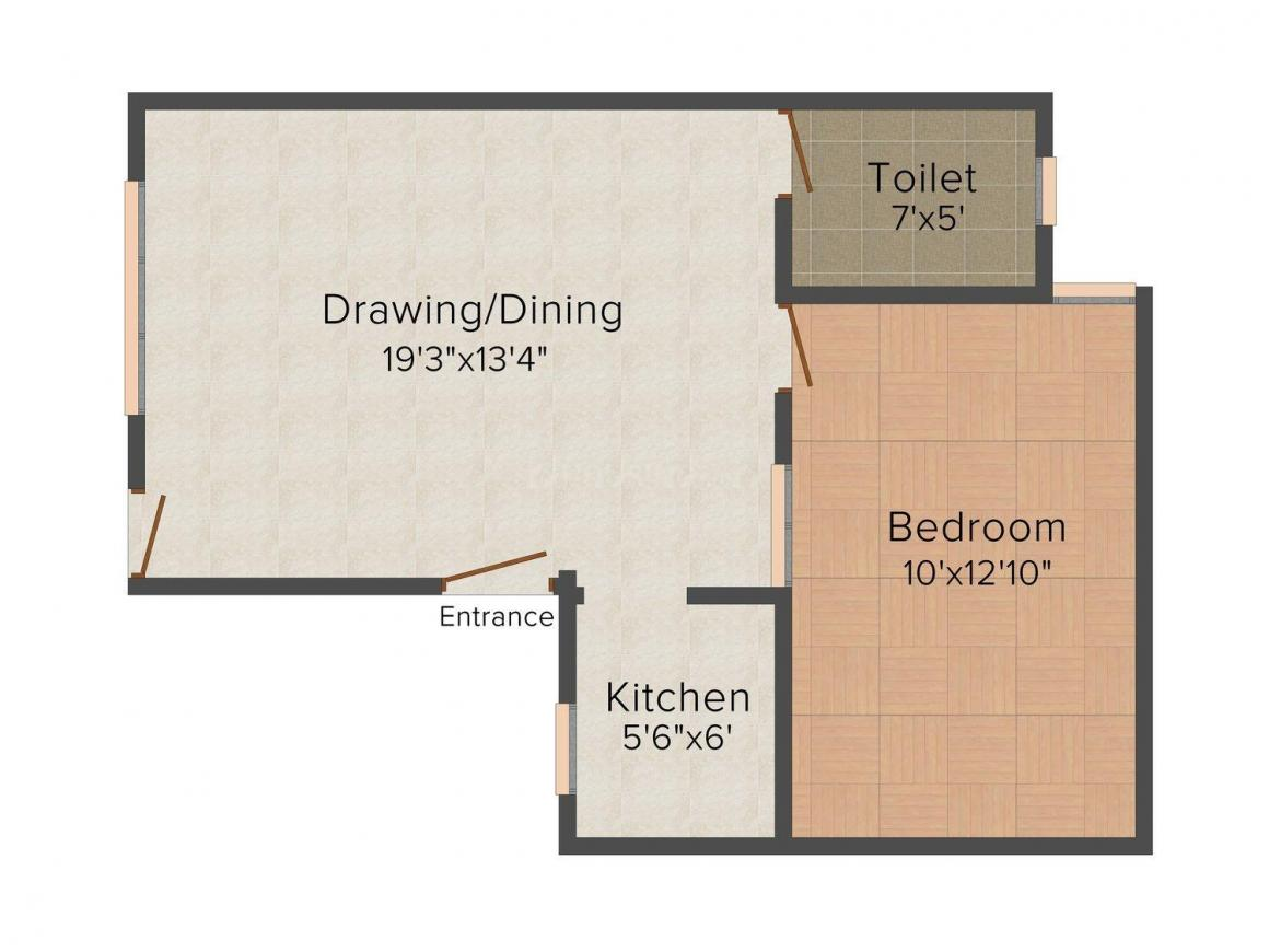 Floor Plan Image of 0 - 630.0 Sq.ft 1 BHK Row House for buy in Shri Krishna Phase 1