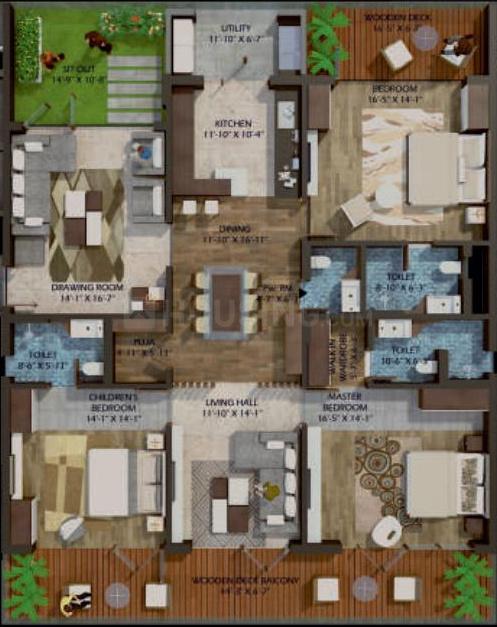 Phoenix Halcyon Floor Plan: 3 BHK Unit with Built up area of 3537 sq.ft 1