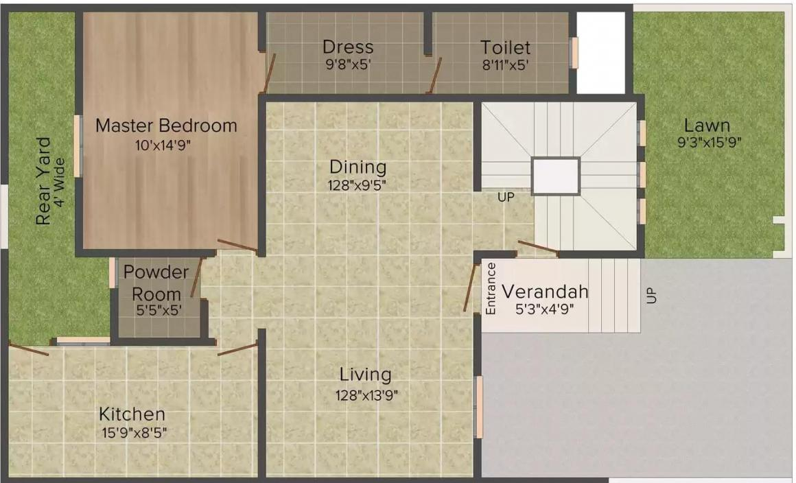 Alliance Anand Second Floor Plan: 3 BHK Unit with Built up area of 2142 sq.ft 1