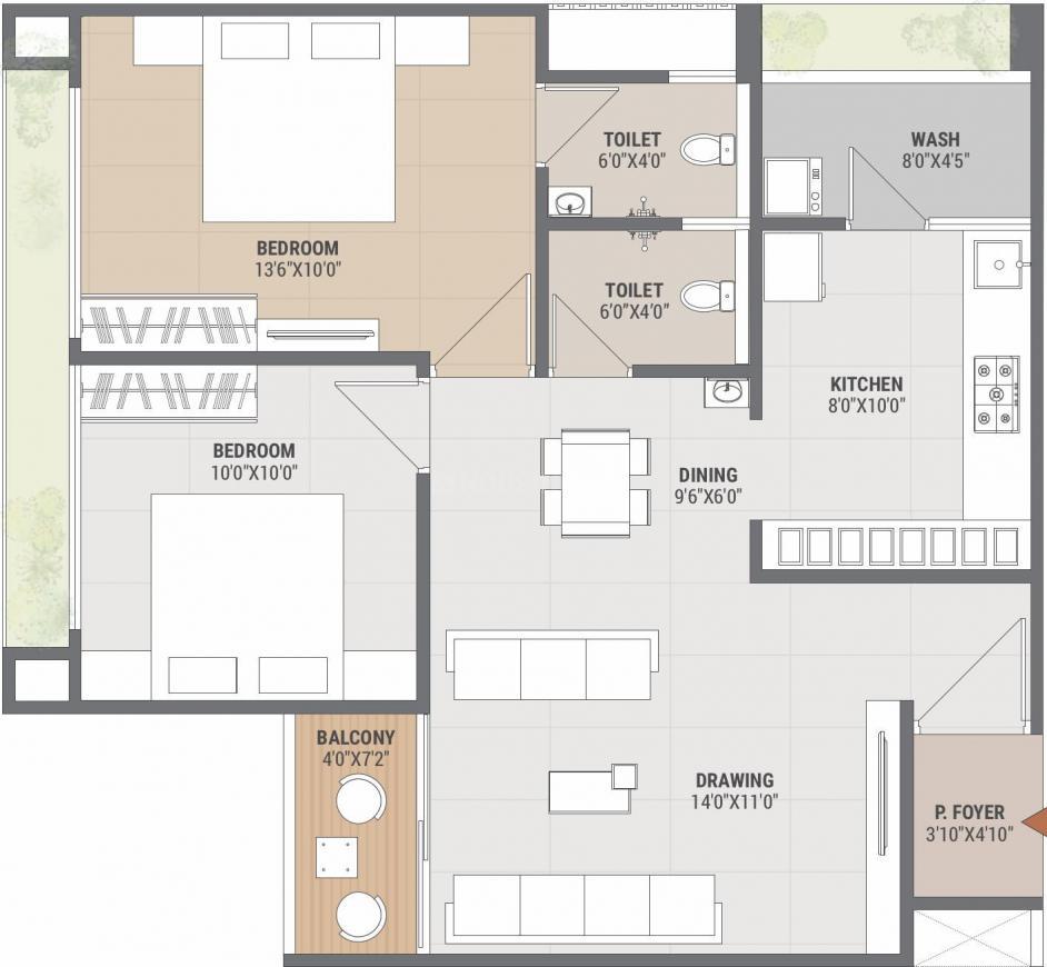 Shreenath Bhagwat Elysium Floor Plan: 2 BHK Unit with Built up area of 622 sq.ft 1