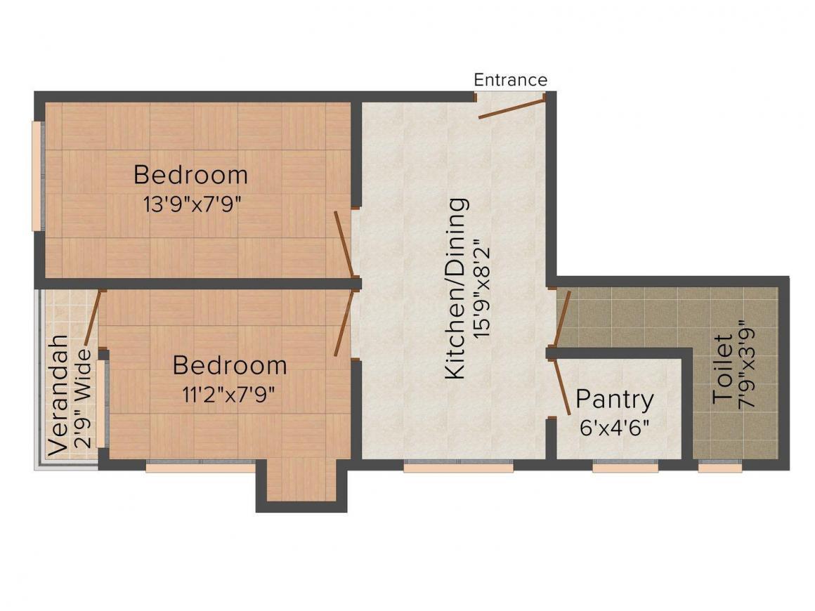 Floor Plan Image of 830 - 1100 Sq.ft 2 BHK Apartment for buy in Mukherjee 150 Mission Palli