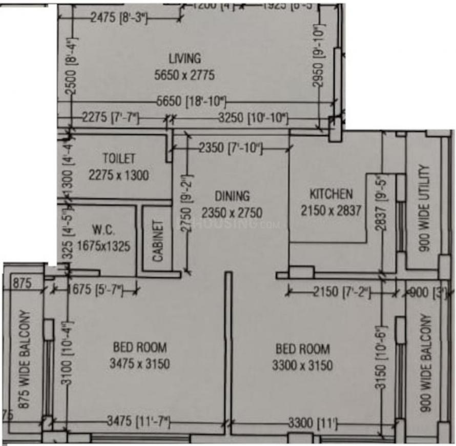 Iris Tower Floor Plan: 2 BHK Unit with Built up area of 1000 sq.ft 1