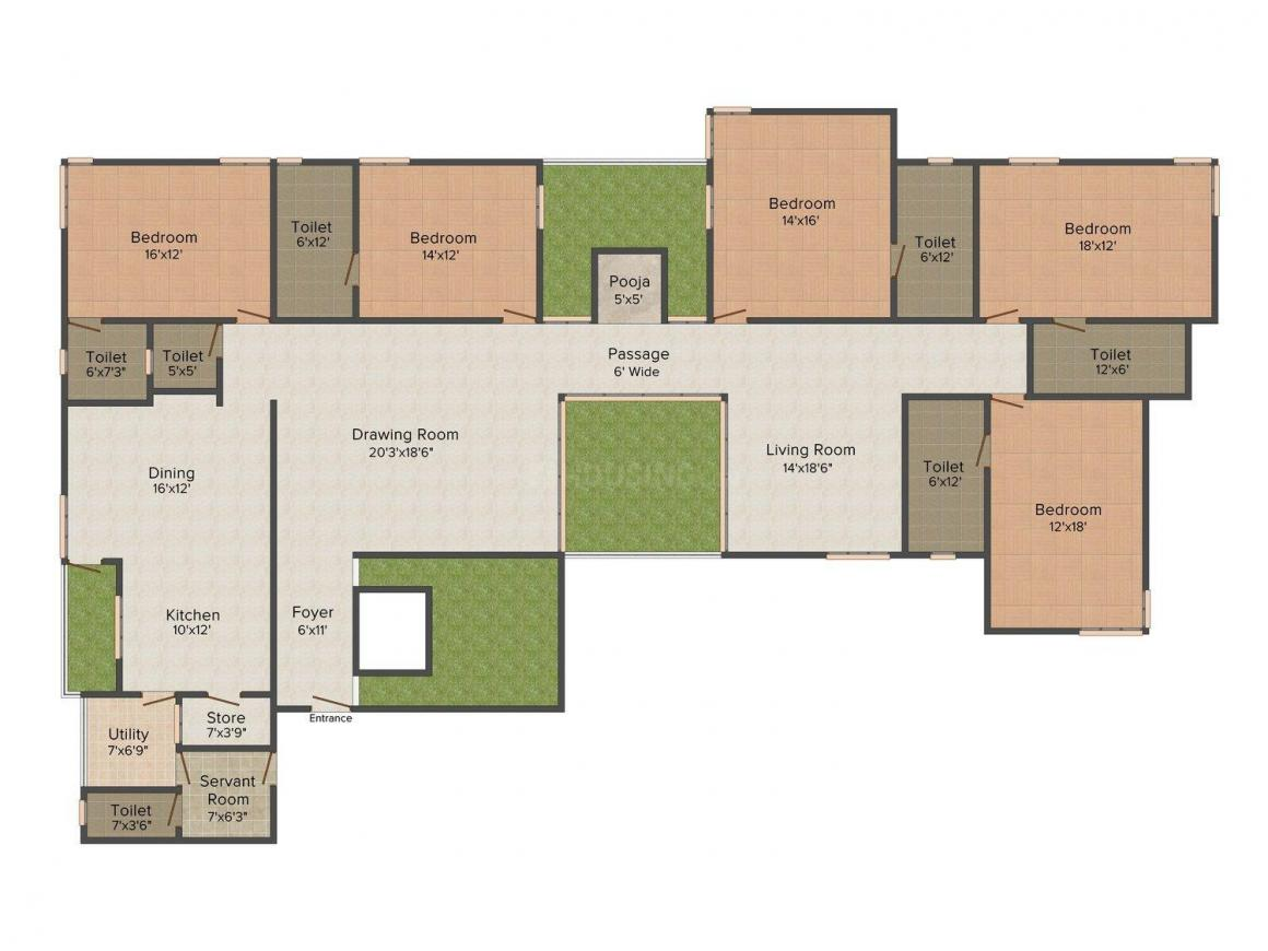 Rajyash Richmond Floor Plan: 5 BHK Unit with Built up area of 2995 sq.ft 1