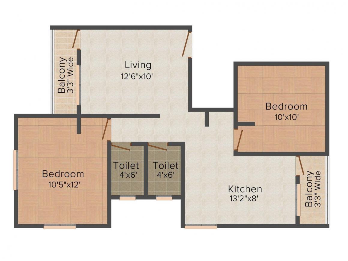 Floor Plan Image of 0 - 600.0 Sq.ft 2 BHK Apartment for buy in Utkarsh Dwarka Residency