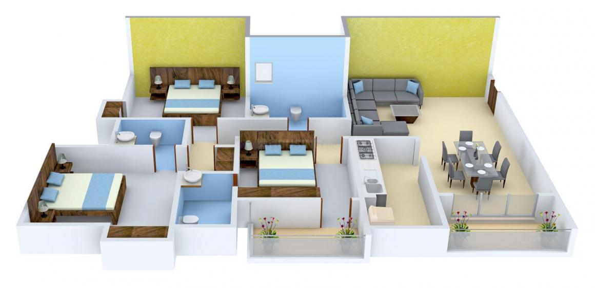 Merlin Iland Floor Plan: 3 BHK Unit with Built up area of 1385 sq.ft 1