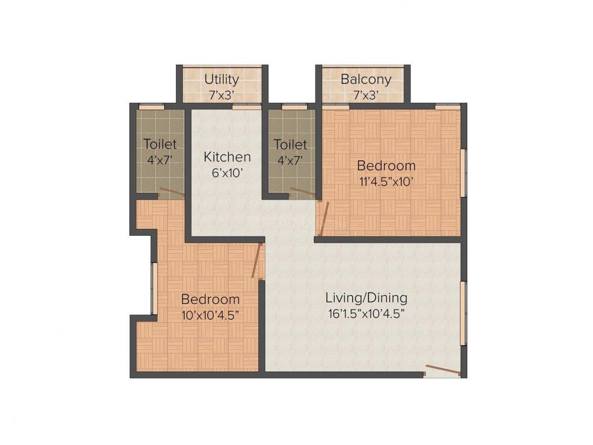 Preetha Rishimaa Flats Floor Plan: 2 BHK Unit with Built up area of 786 sq.ft 1