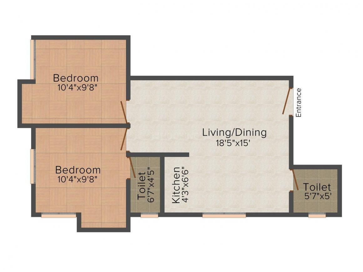 Floor Plan Image of 919.0 - 1436.0 Sq.ft 2 BHK Apartment for buy in Gazebo Aakka Dokka