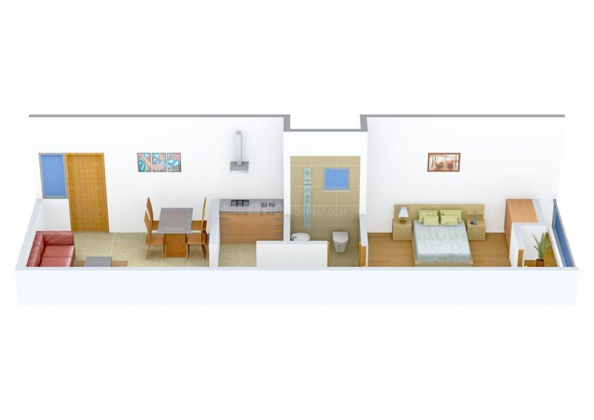 Radha Krishna Enclave Floor Plan: 1 BHK Unit with Built up area of 450 sq.ft 1