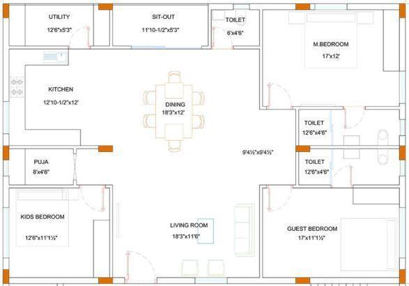 Armaan NRM Residency 51 Floor Plan: 3 BHK Unit with Built up area of 2150 sq.ft 1
