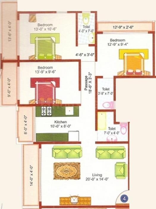 Floor Plan Image of 1050.0 - 1600.0 Sq.ft 2 BHK Apartment for buy in Reputed Shree Nikunj