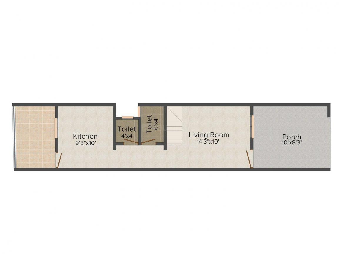 Floor Plan Image of 784 - 903 Sq.ft 2 BHK Row House for buy in Yog Sakshi Ro-Houses