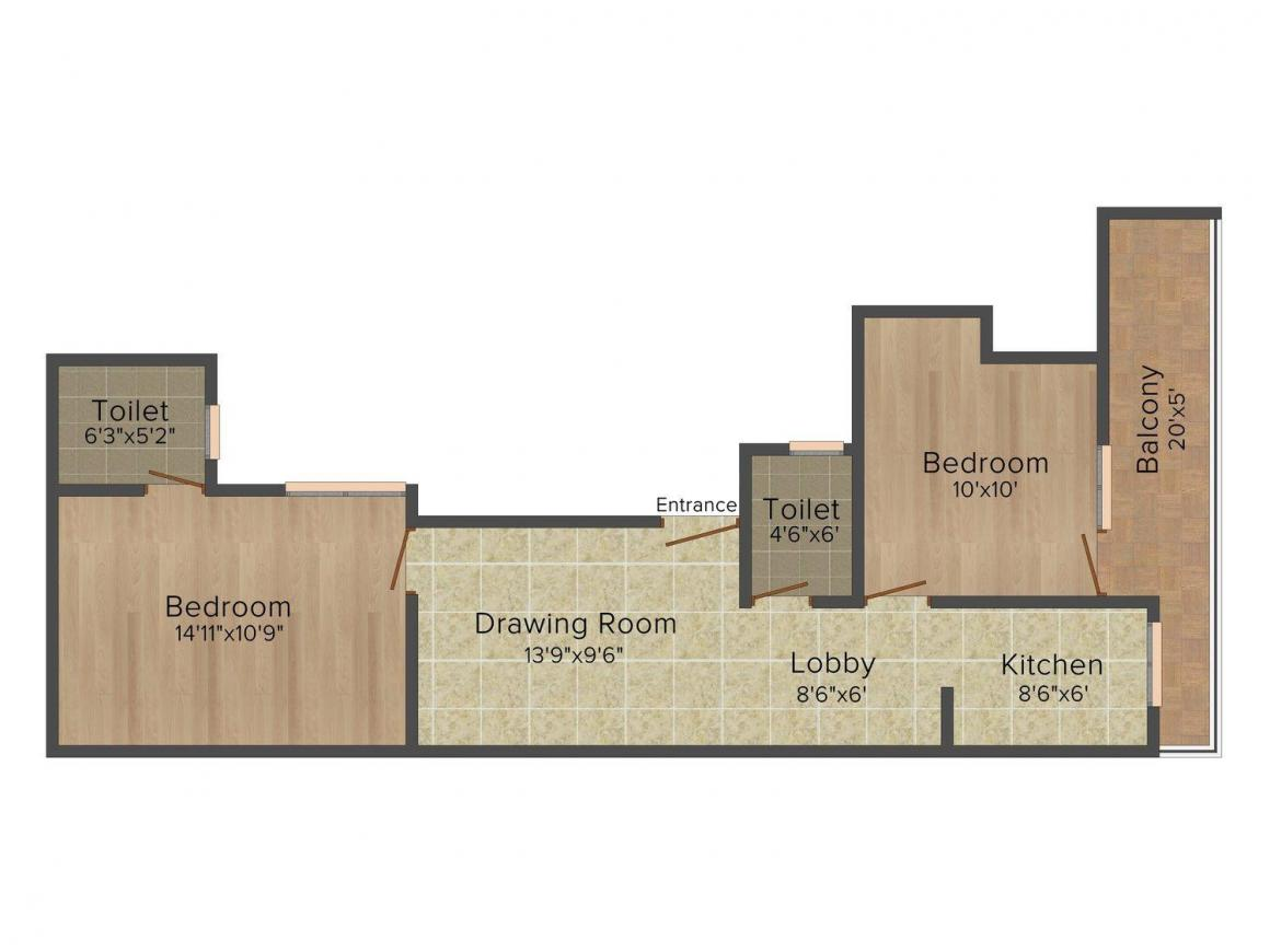 Uphaar Yash Apartment Floor Plan: 2 BHK Unit with Built up area of 750 sq.ft 1