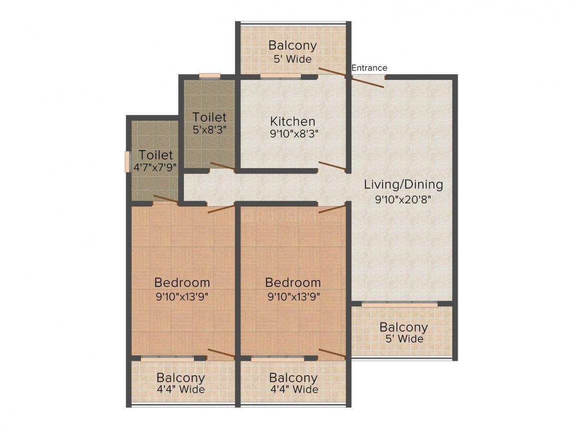Floor Plan Image of 0 - 1089.0 Sq.ft 2 BHK Apartment for buy in Vilanova Raikar Residency