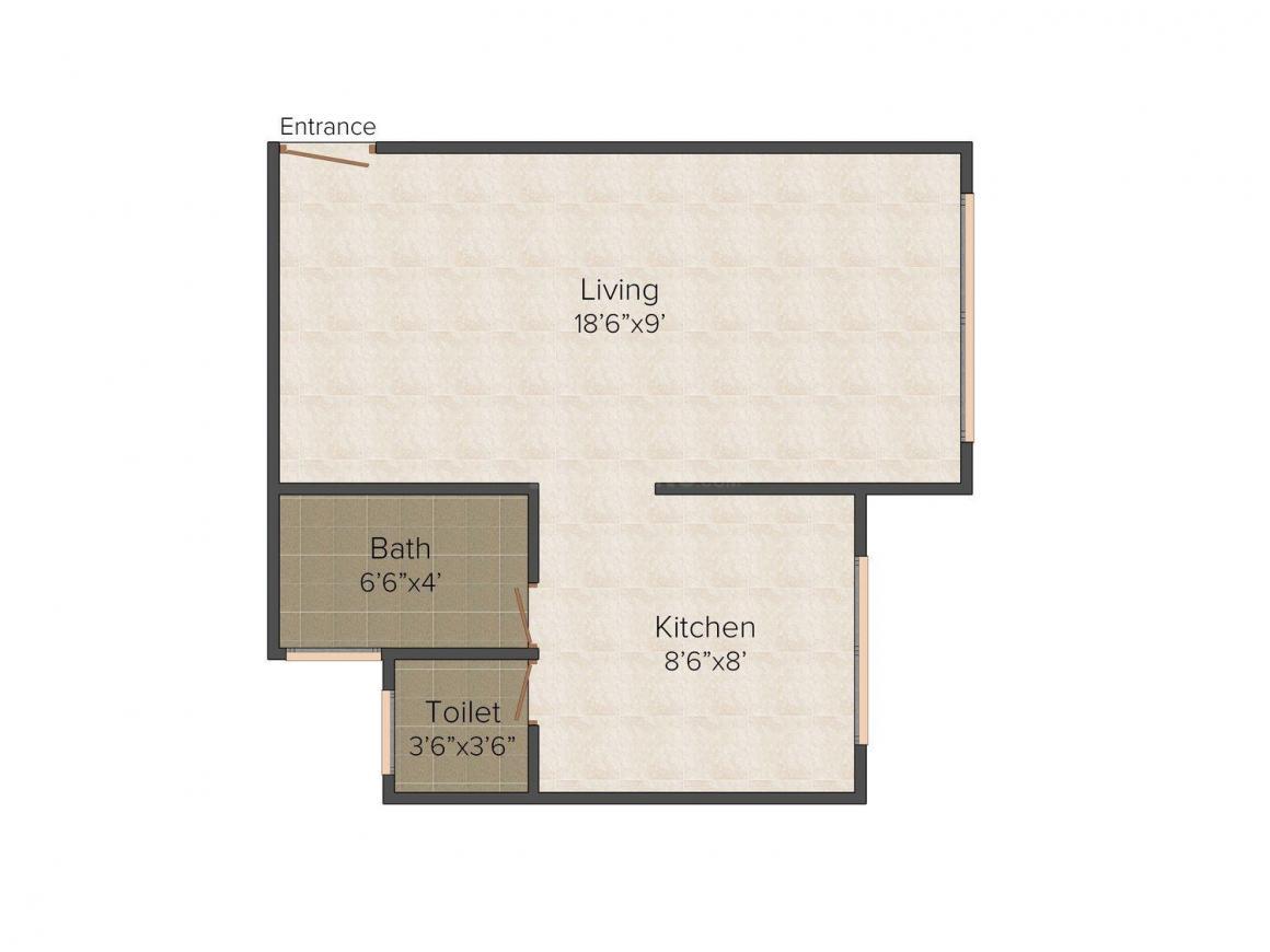 Floor Plan Image of 415.0 - 885.0 Sq.ft 1 RK Apartment for buy in Om Shri Arham Shrusti Residency