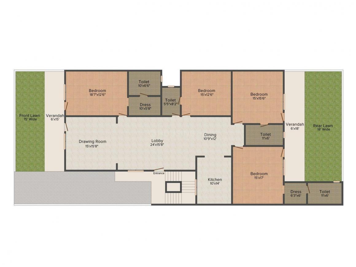 Gupta Floors-8 Floor Plan: 4 BHK Unit with Built up area of 4000 sq.ft 1
