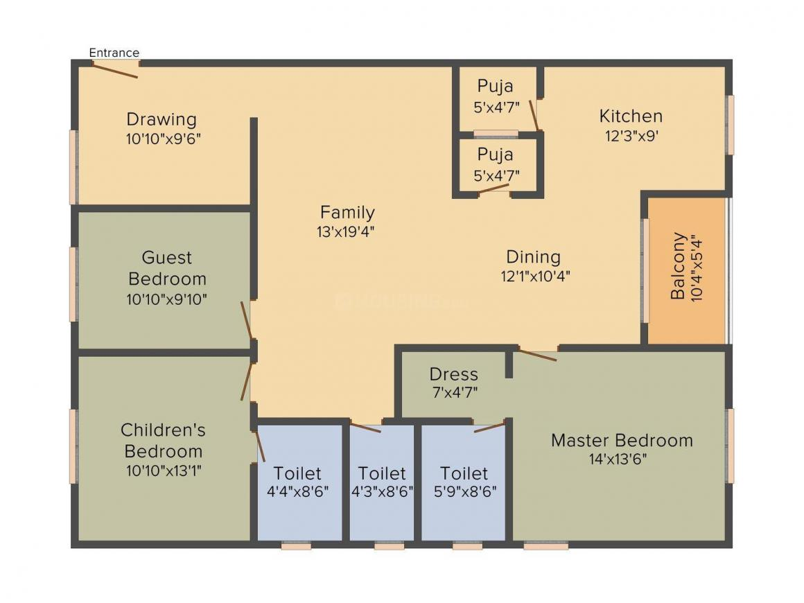 Floor Plan Image of 1418.0 - 2028.0 Sq.ft 2 BHK Apartment for buy in Aastha Green Homes