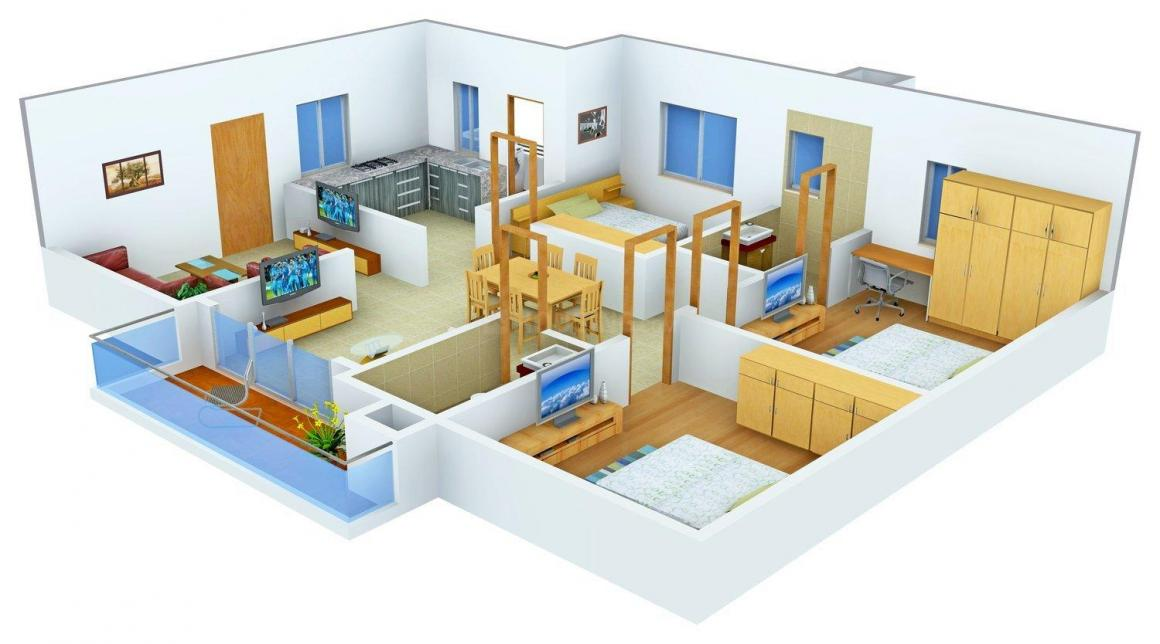 Floor Plan Image of 0 - 1400 Sq.ft 3 BHK Apartment for buy in Lakshya Samridhi 2
