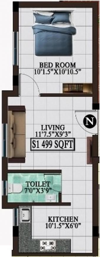 Floor Plan Image of 489.0 - 805.0 Sq.ft 1 BHK Apartment for buy in SS Flora Fauna