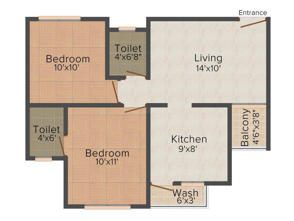 Floor Plan Image of 1100.0 - 1575.0 Sq.ft 2 BHK Apartment for buy in B & B Eshant Heights
