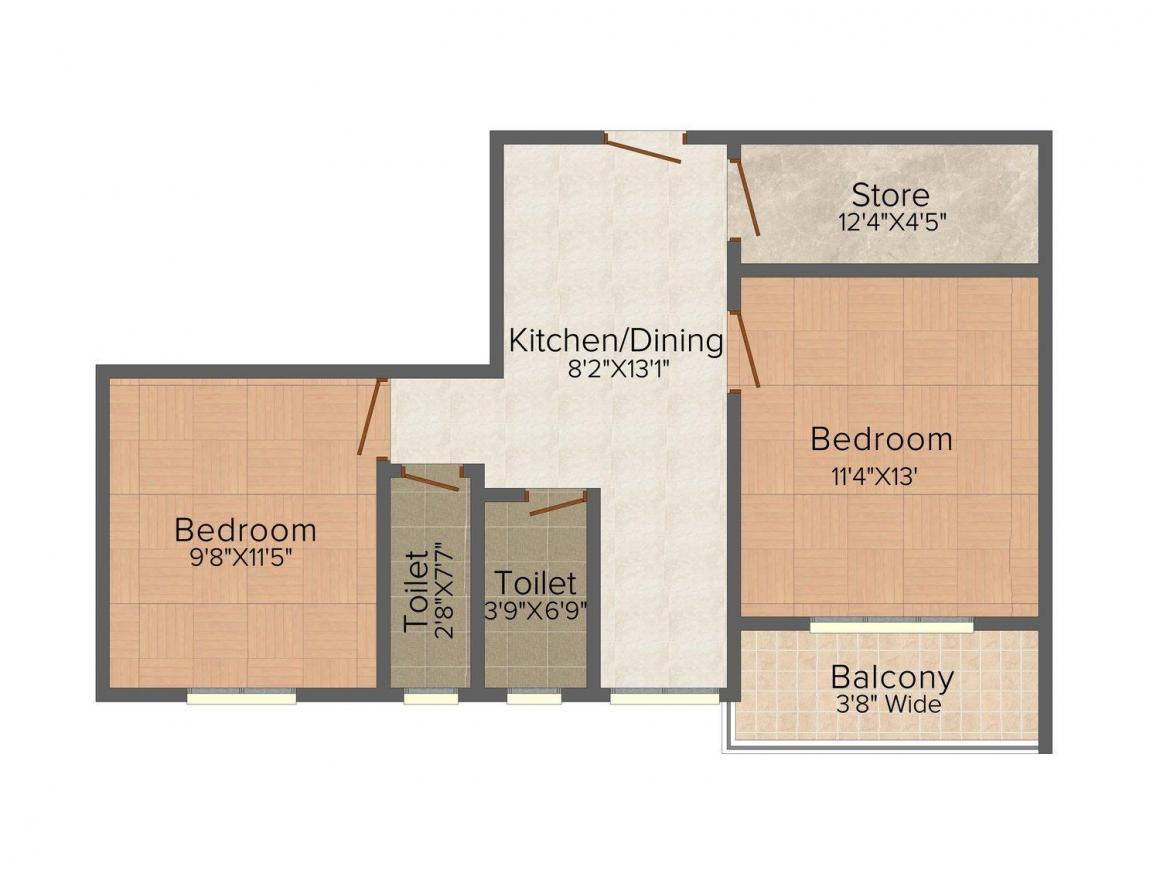 Floor Plan Image of 883.0 - 1179.0 Sq.ft 2 BHK Apartment for buy in Aatreyee Mrittika