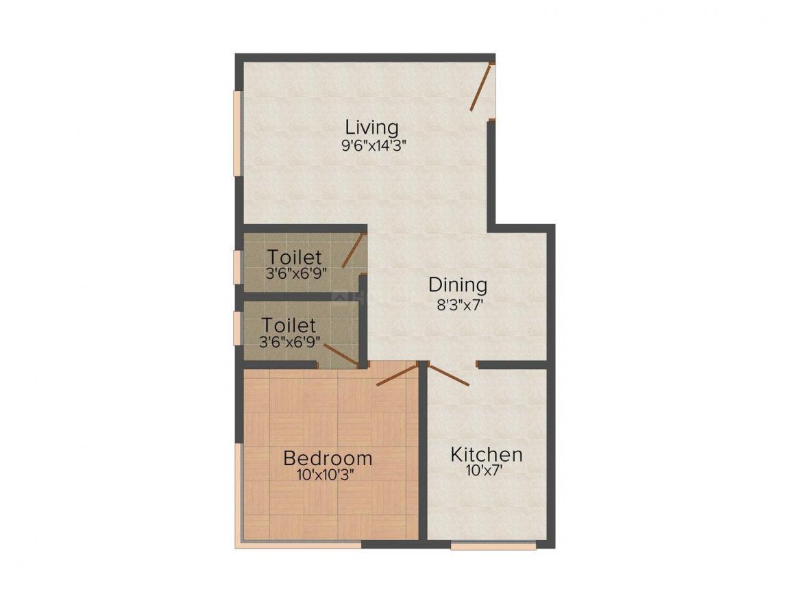 Floor Plan Image of 445.0 - 600.0 Sq.ft 1 BHK Apartment for buy in YashRaj Ram Ashish Residential